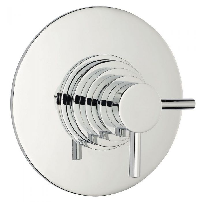 Modern Concealed Thermostatic Shower Faucet Dual Control - Round - Chrome Finish