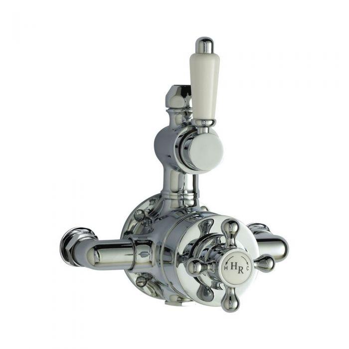 Traditional Twin Exposed Thermostatic Bathroom Shower Faucet Valve - Chrome Finish