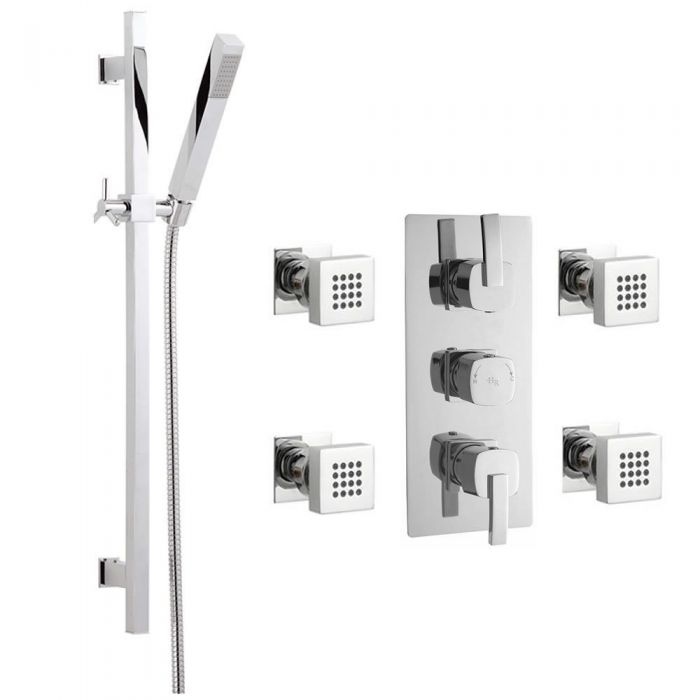 Arco Triple Concealed Thermostatic Shower Valve, Slider Rail Kit And Body Jets - Chrome Finish