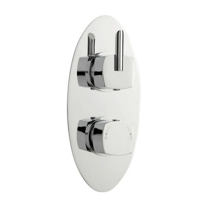 Rialto Twin Concealed Thermostatic Shower With Diverter 2 Outlet Options - Oval - Chrome Finish