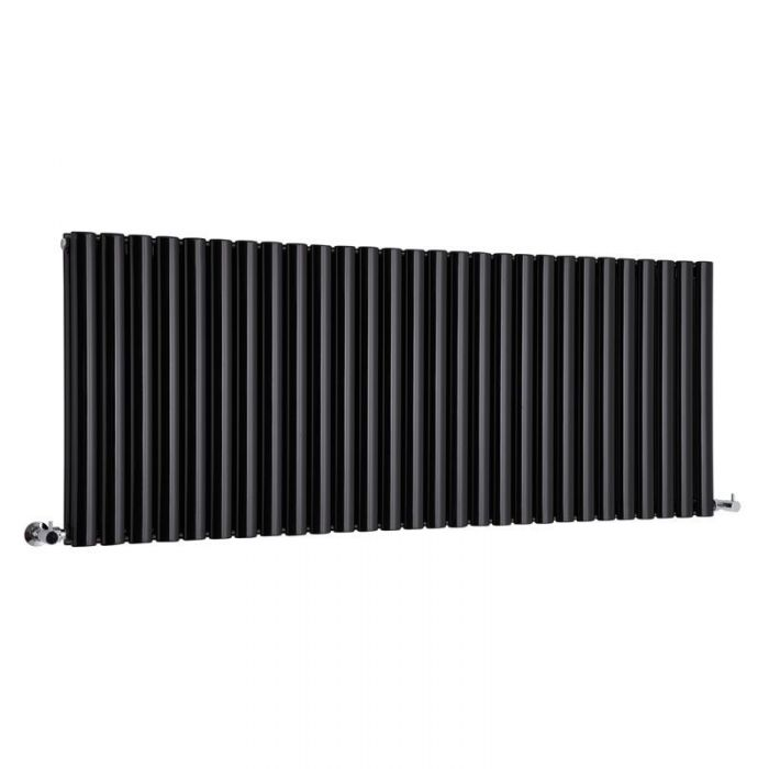 "Revive - Black Horizontal Double-Panel Designer Radiator - 25"" x 64.75"""