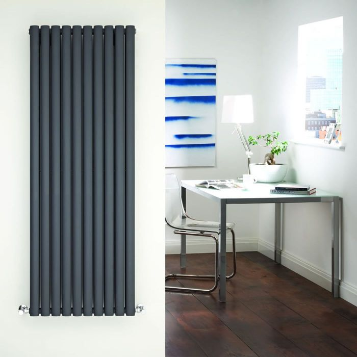 "Revive - Anthracite Vertical Double-Panel Designer Radiator - 63"" x 23.25"""
