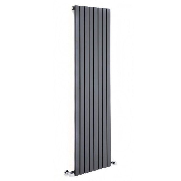 "Sloane - Anthracite Vertical Single Flat-Panel Designer Radiator - 63"" x 18.5"""