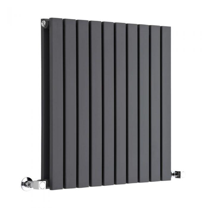 "Sloane - Anthracite Horizontal Double Flat-Panel Designer Radiator - 25"" x 23.5"""