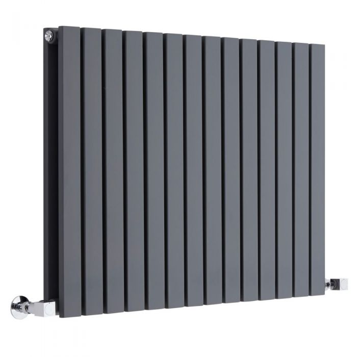 "Sloane - Anthracite Horizontal Double Flat-Panel Designer Radiator - 25"" x 32.75"""