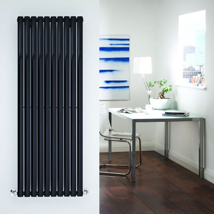 "Revive - Black Vertical Single-Panel Designer Radiator - 63"" x 23.25"""