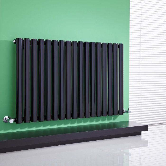 "Revive - Black Horizontal Single-Panel Designer Radiator - 25"" x 39.25"""