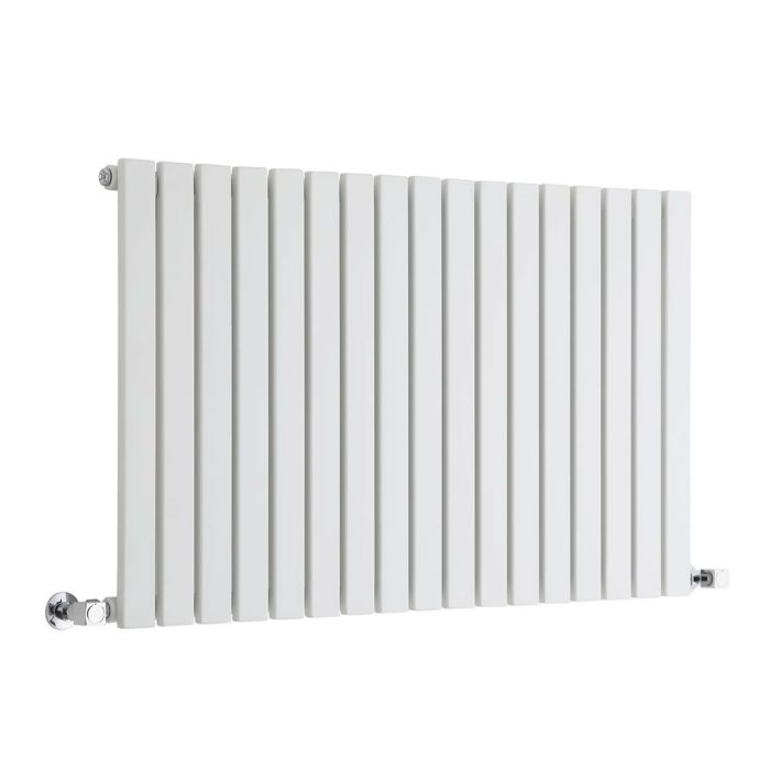 "Sloane - White Horizontal Single Flat-Panel Designer Radiator - 25"" x 39.25"""