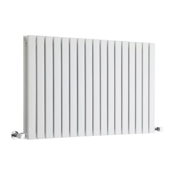 "Sloane - White Horizontal Double Flat-Panel Designer Radiator - 25"" x 39.25"""