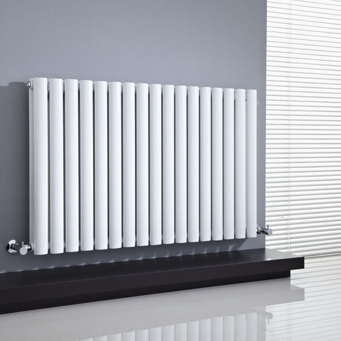 "Revive - White Horizontal Double-Panel Designer Radiator - 25"" x 39.25"""