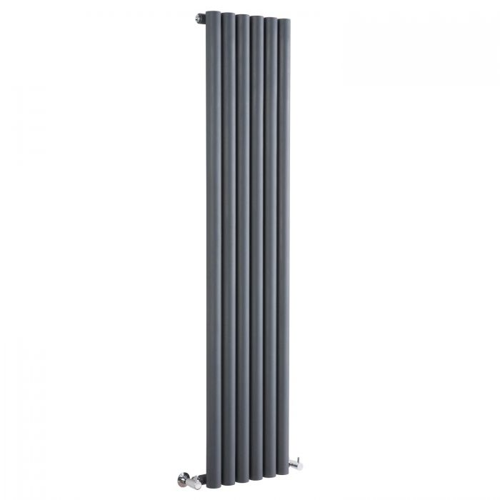 "Savy - Anthracite Vertical Single-Panel Designer Radiator - 63"" x 14"""
