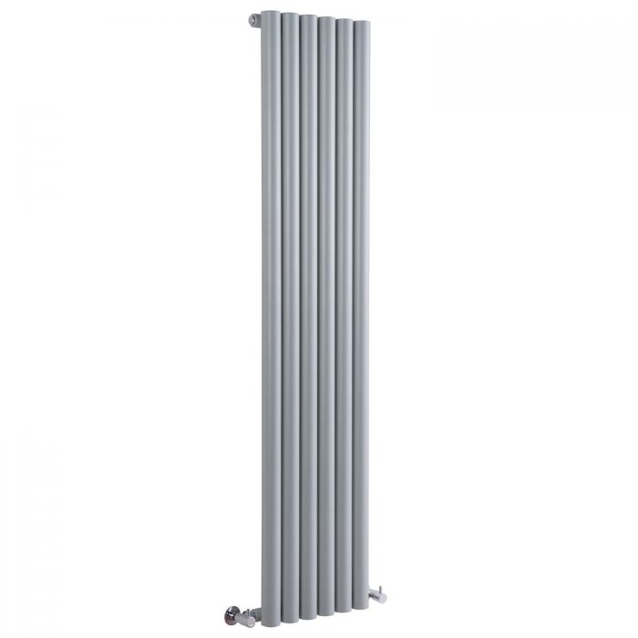 "Savy - Silver Vertical Single-Panel Designer Radiator - 63"" x 14"""