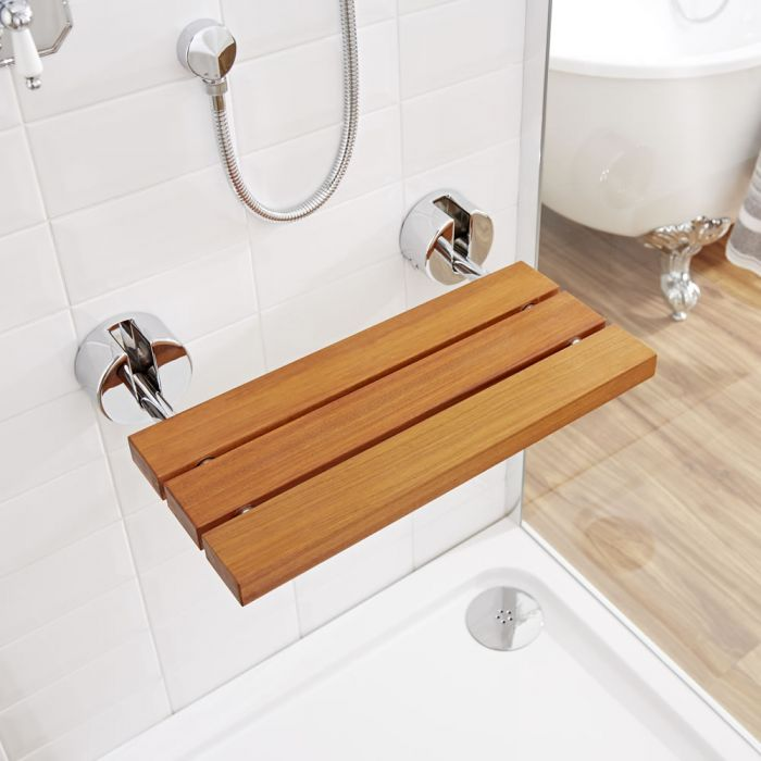 Teak Folding Shower Seat with Chrome Brackets