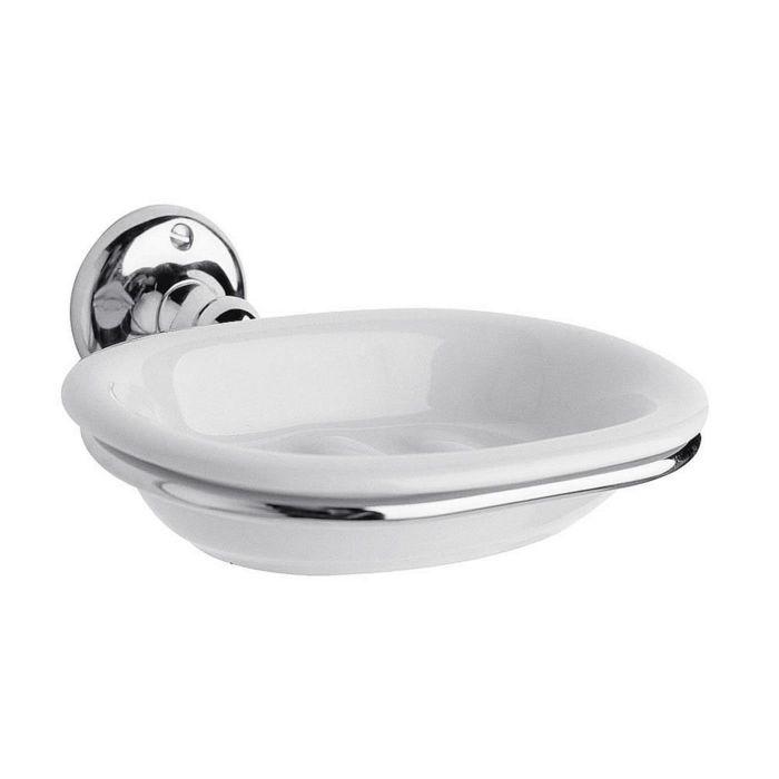 Attractive Soap Dish in Chrome Finish & White Ceramic Dish