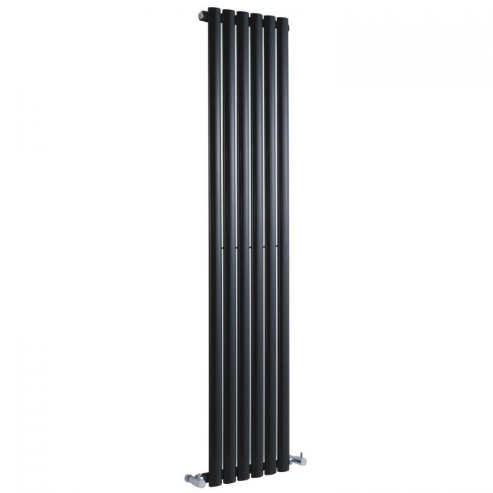 "Revive - Black Vertical Single-Panel Designer Radiator - 63"" x 14"""