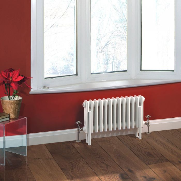 "Regent - White Horizontal 3-Column Traditional Cast-Iron Style Radiator - 11.75"" x 23.5"""