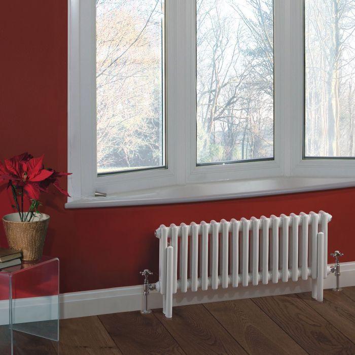 "Regent - White Horizontal 2-Column Traditional Cast-Iron Style Radiator - 11.75"" x 31"""