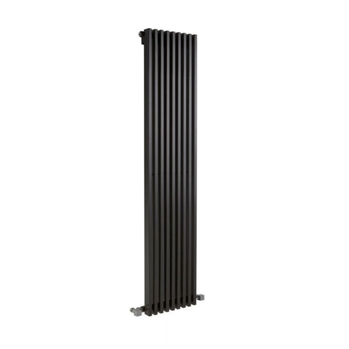 "Fin - Black Vertical Single-Panel Designer Radiator - 63"" x 13.5"""
