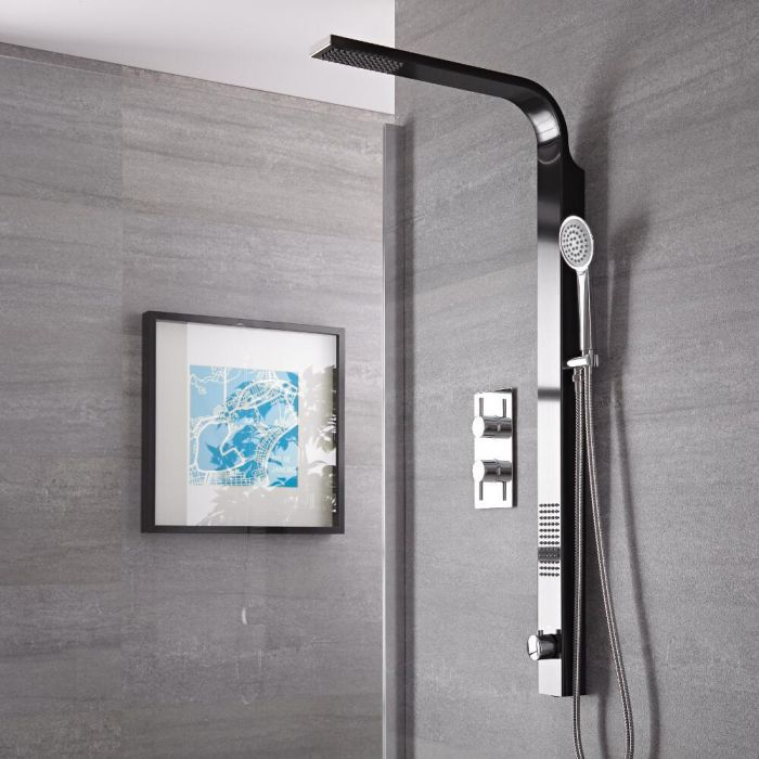 Harding Black Rigid Shower Kit Top Inlet With Twin Shower Valve