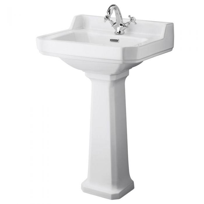 "Traditional Carlton  Porcelain Sink and Pedestal 22"""