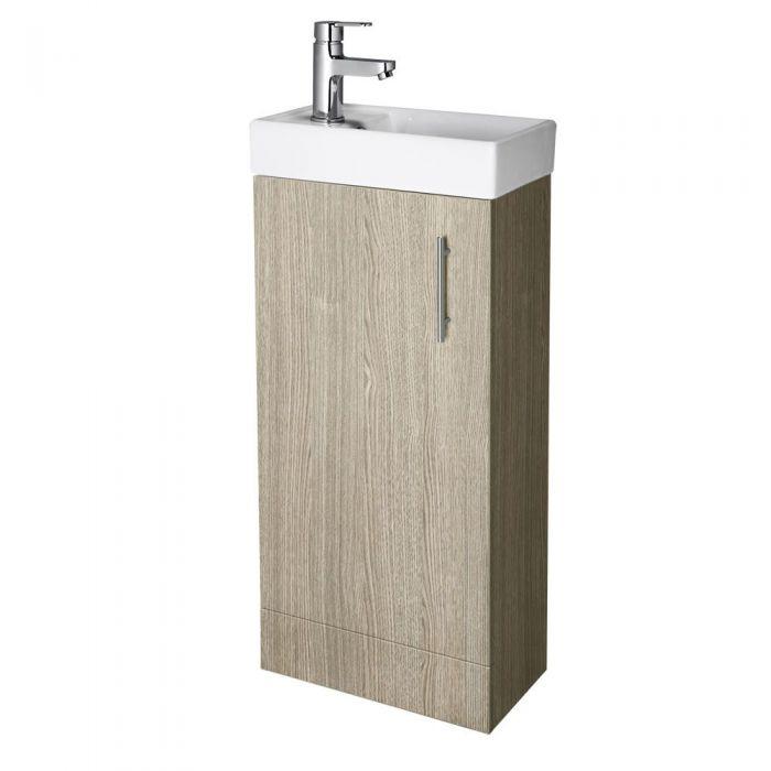 "Oak Small Floorstanding Vanity Vessel Sink 16"""