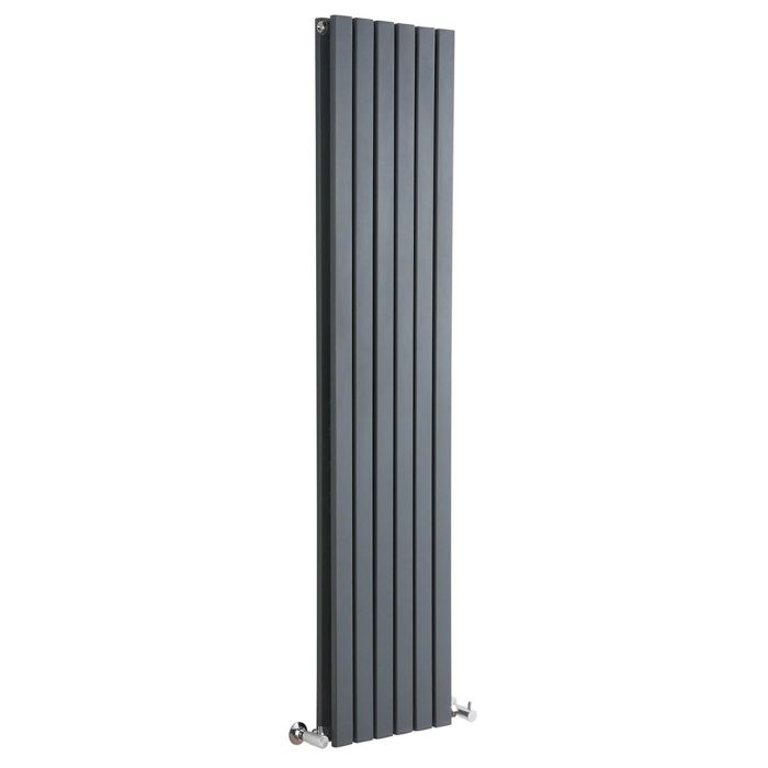 "Sloane - Anthracite Vertical Double Flat-Panel Designer Radiator - 70"" x 14"""