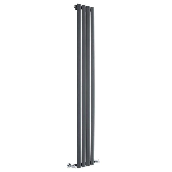 "Edifice - Anthracite Vertical Single-Panel Designer Radiator - 70"" x 11"""