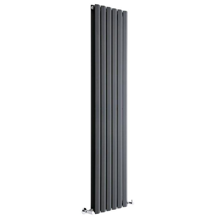 "Edifice - Anthracite Vertical Double-Panel Designer Radiator - 70"" x 16.5"""