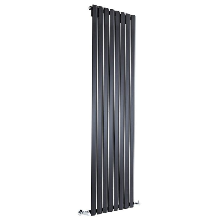 "Edifice - Black Vertical Single-Panel Designer Radiator - 70"" x 22"""
