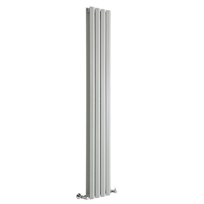 "Edifice - White Vertical Double-Panel Designer Radiator - 70"" x 11"""