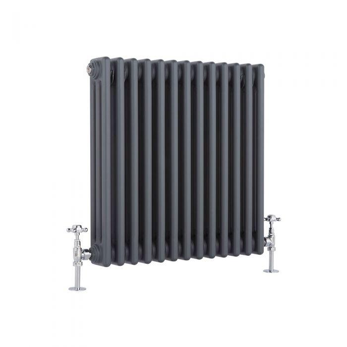 "Regent - Anthracite Horizontal 3-Column Traditional Cast-Iron Style Radiator - 23.5"" x 23"""