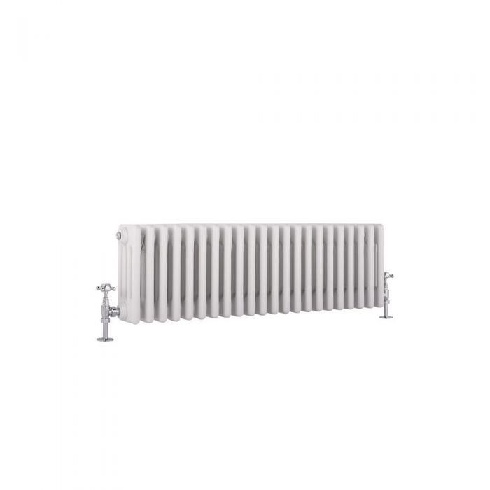 "Regent - White Horizontal 4-Column Traditional Cast-Iron Style Radiator - 11.75"" x 39"""