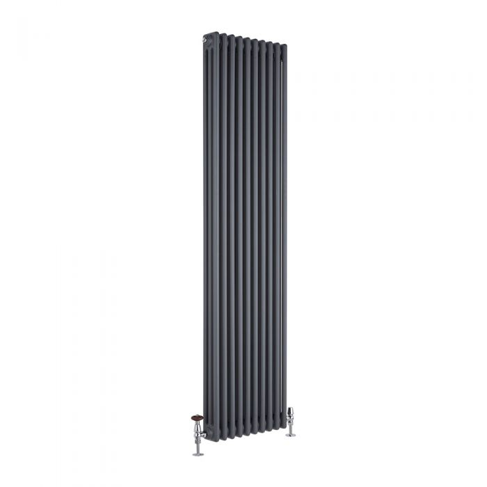"Regent - Anthracite Vertical 3-Column Traditional Cast-Iron Style Radiator - 70.75"" x 17.75"""