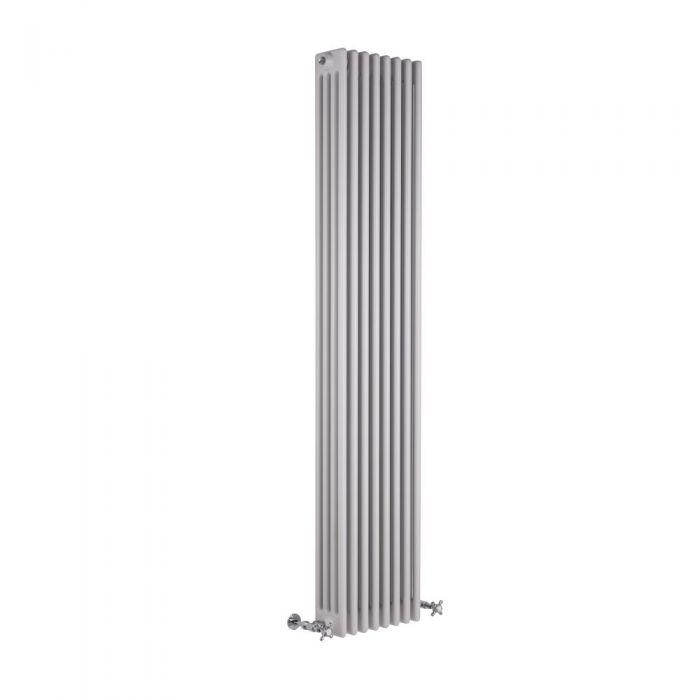"Regent - White Vertical 4-Column Traditional Cast-Iron Style Radiator - 70.75"" x 14.25"""