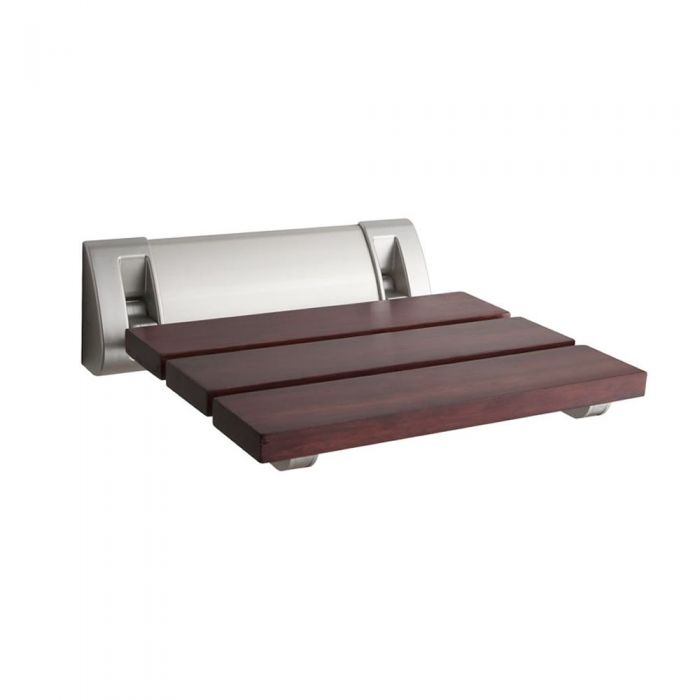 Sapele Folding Shower Seat with Wide Bracket