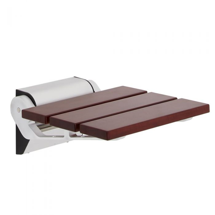Sapele Folding Shower Seat with Narrow Bracket