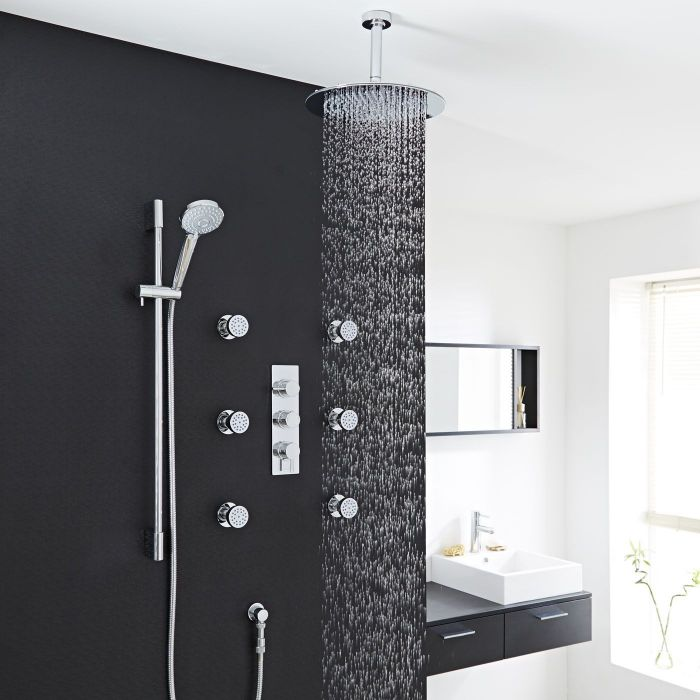 Thermostatic Shower System with Multi-Function Hand Shower & 6 Body Jets