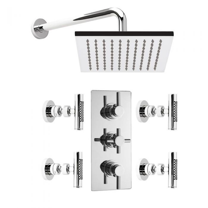 Concealed Thermostatic Shower Valve with Square Fixed Head and 4 Body Sprays - Chrome Finish