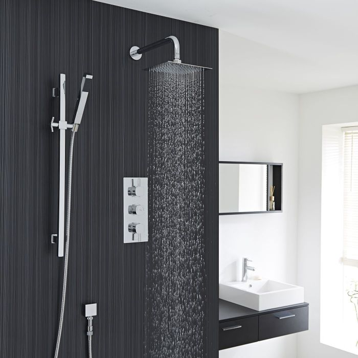 Square Slide Rail Kit With Thermostatic Triple Shower Valve and 8 ...