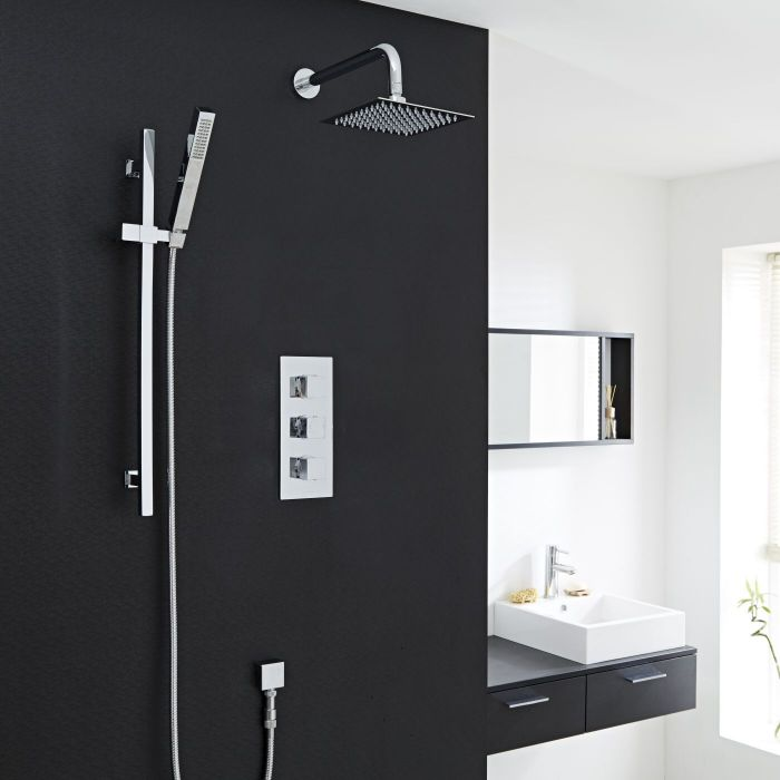 """Valquest Thermostatic Shower System with Slider Rail Kit, Wall Arm & 8""""Head"""