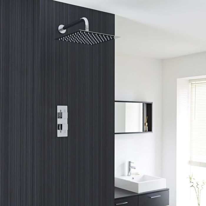 """Square Thermostatic 1 Outlet Shower System with 12"""" Head with Wall Arm"""