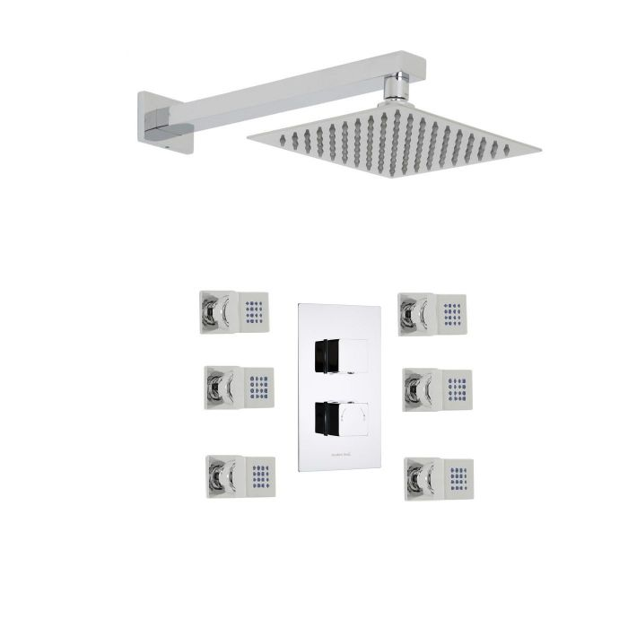 """Kubix Thermostatic 2 Outlet Shower System with 8"""" Square Head & 6 Square Jet Sprays"""
