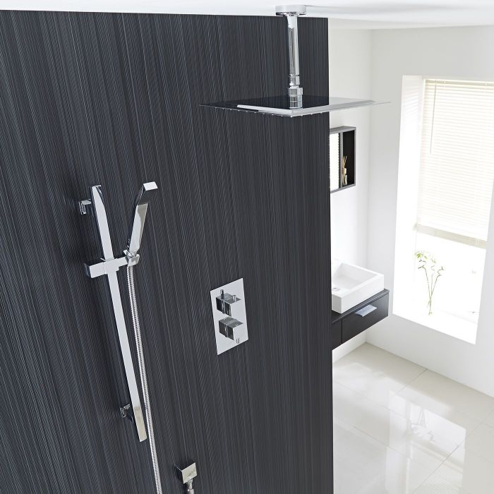 """Square Thermostatic 2 Outlet Shower System with 12"""" Ceiling Head & Handshower"""