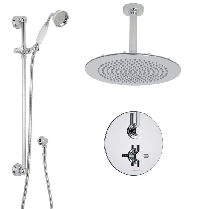 """Tec Thermostatic 2 Outlet Shower System with 12"""" Round Head & Arm & Traditional Handset"""