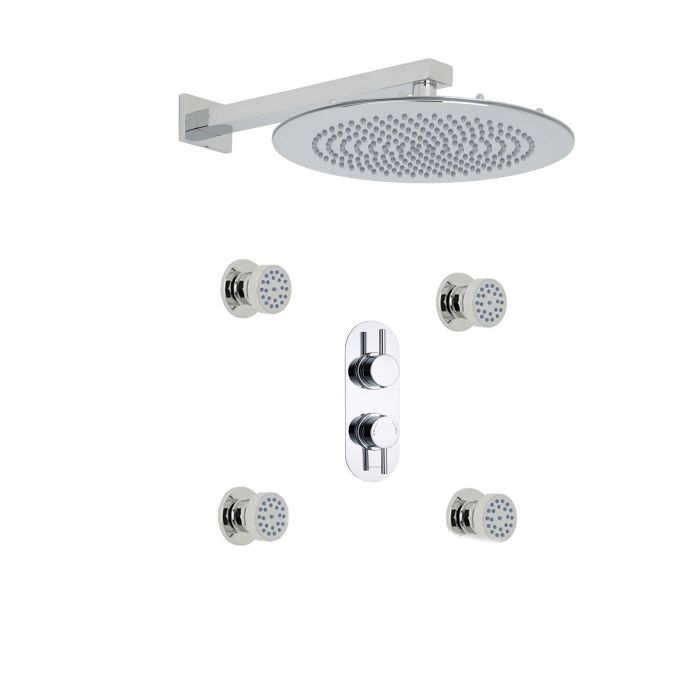 "Quest Thermostatic 2 Outlet Shower System with 12"" Round Head & Arm & 4 Round Jet Sprays"