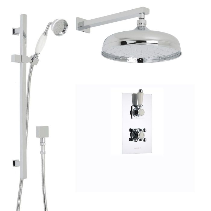 """Traditional Thermostatic 2 Outlet Shower System with 12"""" Apron Head & Wall Arm & Handset"""