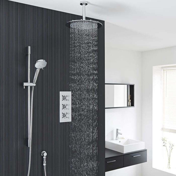 """Kristal Thermostatic Shower System with 12"""" Ceiling Head & Handshower"""