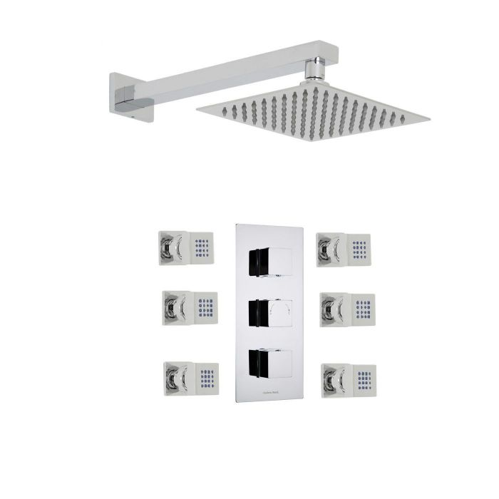 """Kubix Thermostatic Shower System with 8"""" Square Head & 6 Square Jet Sprays"""