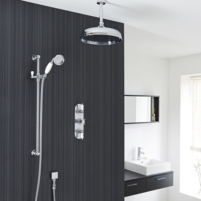 """Beaumont Thermostatic Shower System with 12"""" Apron Head & Ceiling Arm & Brass Handset"""