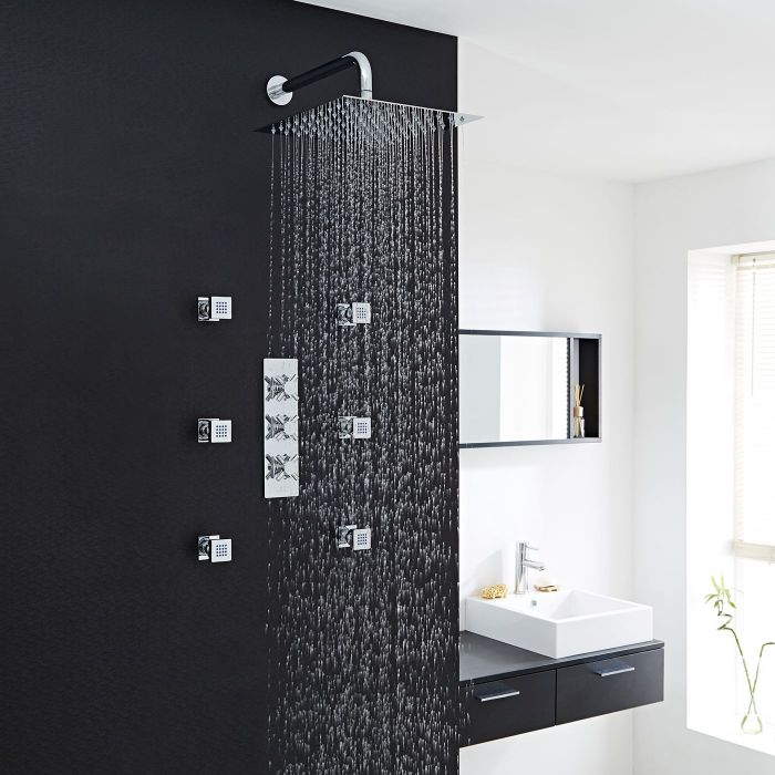 """Kristal Thermostatic Shower System with 12"""" Square Head & Wall Arm & 6 Square Body Sprays"""